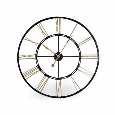 Large Round Skeleton Black Gold Painted Iron Metal Wall Clock 102cm