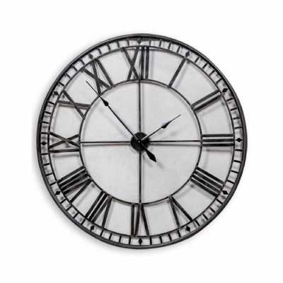 Large Iron 120cm Diameter Round Black Painted Metal Skeleton Wall Clock Roman Numerals