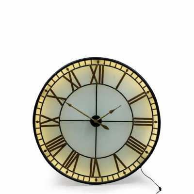 Large Round Black Gold Westminster Wall Clock Back Lit Glass LED 120cm Diameter