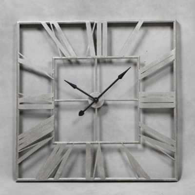 London Large Square Silver Painted Roman Numeral Skeleton Wall Clock