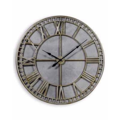 Large Round Silver Painted Metal Skeleton Wall Clock with Roman Numerals