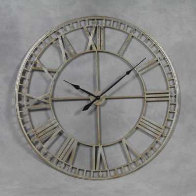 ET287 Large Round Silver Painted Skeleton Roman Numeral Wall Clock