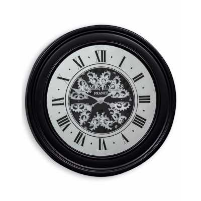 Industrial Style Metal Black Mirrored Face Moving Gears Wall Clock