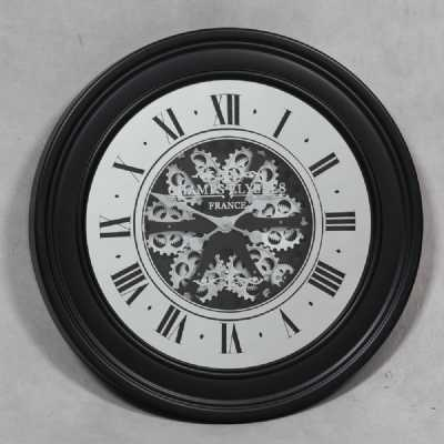Steampunk Black Mirrored Face Antique Style Moving Gears Wall Clock