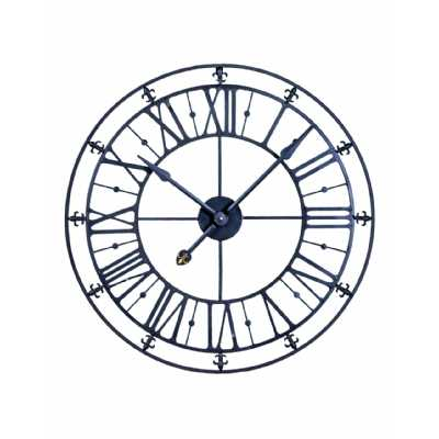 Decorative Medium Sized Medieval Style Black Iron Skeleton Wall Clock