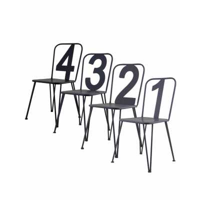 Set Of 4 Assorted Grey Numbers Metal Dining Kitchen Bistro Chairs