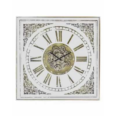 Square Antiqued Mirrored Face Moving Gears Clock