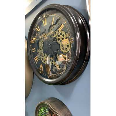 Traditional Black And Gold Medium Moving Gears Wall Clock