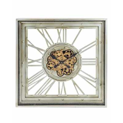 Square Grey Glazed Metal Framed Skeleton Moving Gears Wall Clock