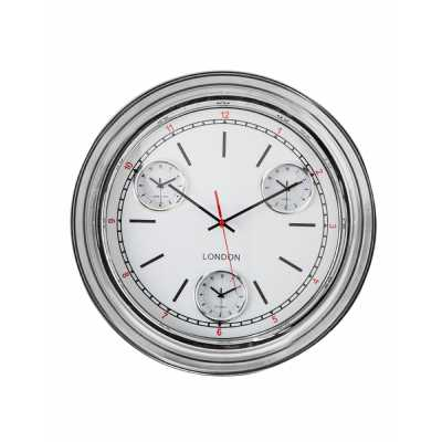 Chrome Framed Multi Dial Curved Glass Retro Wall Clock