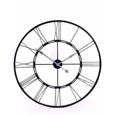 Large Round Skeleton Wall Clock Black and Silver Painted Iron Roman Numerals