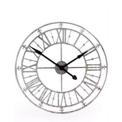 Round Wall Clock Medium Metal Iron Silver Skeleton 76cm Roman Numeral