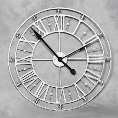 Round Roman Numeral Skeleton Medium Size Silver Iron Metal Wall Clock