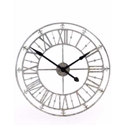 Round Silver Metal Skeleton Wall Clock with Roman Numerals 76cm Diameter