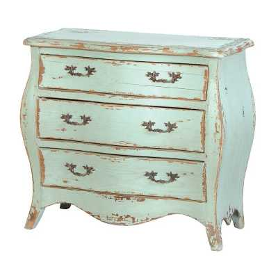 Etienne Shabby Chic Green Blue Small Painted 3 Drawer Chest Of Drawers