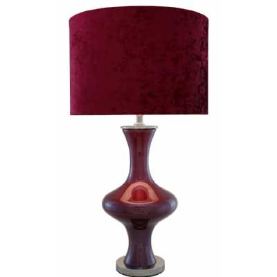Dark Ruby Red Pearl Lustre Table Lamp with Red Drum Velvet Shade