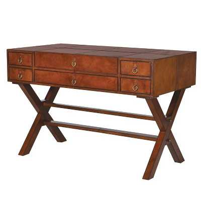 Jaipur Tanned Leather Writing Desk with Drawers
