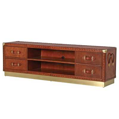 Modern Tan Jaipur Leather Bound TV Entertainment Cabinet Brass Base