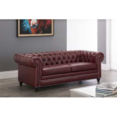 Faux Leather Chesterfield 3 Seater Sofa Oxblood Red with Tufted Back