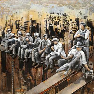 Paintings 3D Metal Construction Workers In Manhattan Painting