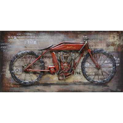 Paintings 3D Metal Nostalgia Bike Painting On Canvas Wall Art