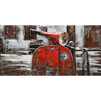 Art Deco Multicolour Metal Framed 3D Scooter Painting Wall Art 40x80cm