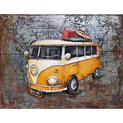 Vintage Paintings 3D Metal Yellow VW Camper Painting On Canvas Wall Art