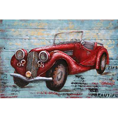 Paintings 3D Vintage Style Metal Red Car on Wood Painting Wall Art
