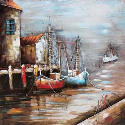 Paintings 3D Metal Vintage Cornish Harbour Painting Wall Art