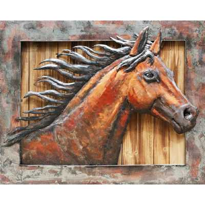 Distressed 3D Metal Framed Wood Wild Horse Large Rectangular Painting Wall Art 80x100cm