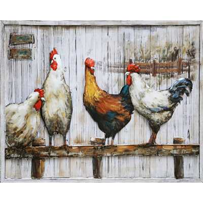 Country Chic Style 3D Metal on Wood Vibrant Home To Roost Large Rectangular Wall Painting 80x100cm
