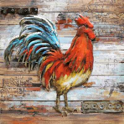 Art Deco Square Multicolour Metal on Wood Cockerel 3D Painting Wall Art 80cm