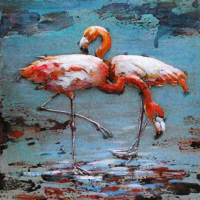 Paintings 3D Metal Flamingo Painting On Canvas Wall Art