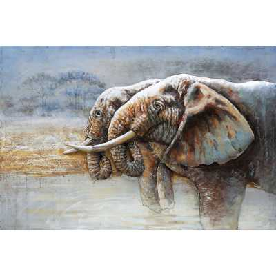 Paintings 3D Metal Elephants Standing At Peace Painting Wall Art