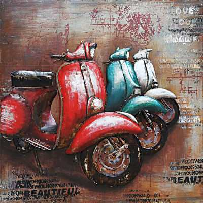 Paintings 3D Metal Vintage Colourful Scooter Trio Painting Wall Art