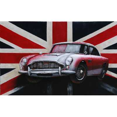 Large Rectangular 3D Metal Vintage Red And White Sports Car With Union Jack Painting Wall Art 120x80cm