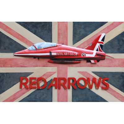 Large Rectangular Metal Red Arrows Jet Canvas and Union Jack Painting Wall Art 80X120cm