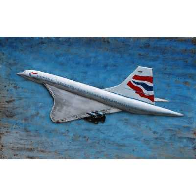 Large Rectangular Metal White Concorde Canvas with Union Jack Painting Wall Art 80X120cm