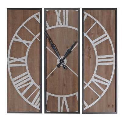 Trending 3 Piece Roman Numeral Wood Paneled Wall Clock