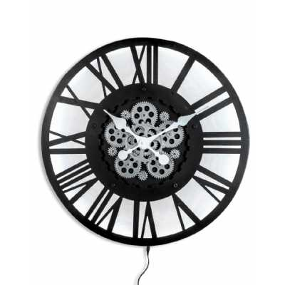 Large Black Skeleton Backlit Moving Gears Wall Clock Roman Numeral