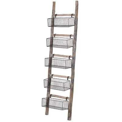 Back to Basics Rustic Style Wooden Ladder Storage With 5 Wire Baskets