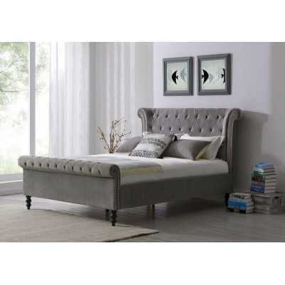 Ariel Velvet King Size Bed Upholstered Silver Velvet Bed Frame