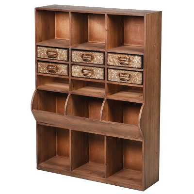 Wooden Pigeon Hole 6 Drawer Wall Unit
