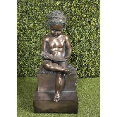 Bronzed Boy Reading Traditional Style Garden Ornament