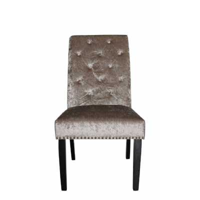 Pair Of Mink Rohan Deep Buttoned Back Dining Chairs In Soft Velvet