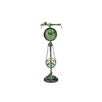Clocks Green Antique Recycled Iron Bicycle Clock