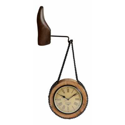 Clocks Upcycled Wooden Dual Side Clock with Shoe Hanger