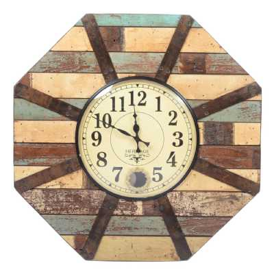 Old Reclaimed Hexagonal Multicolour Distressed Wood Wall Hanging Clock 64x16x81cm