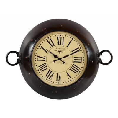 Vintage Style Reclaimed Wood And Iron Kadai Themed Wall Clock With Roman Numerals 60 x 46cm