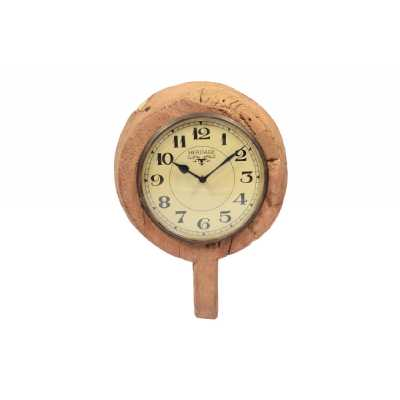 Vintage Style Clocks Old Wooden Bowl Wall Clock With Brass Ring 40 x 29cm